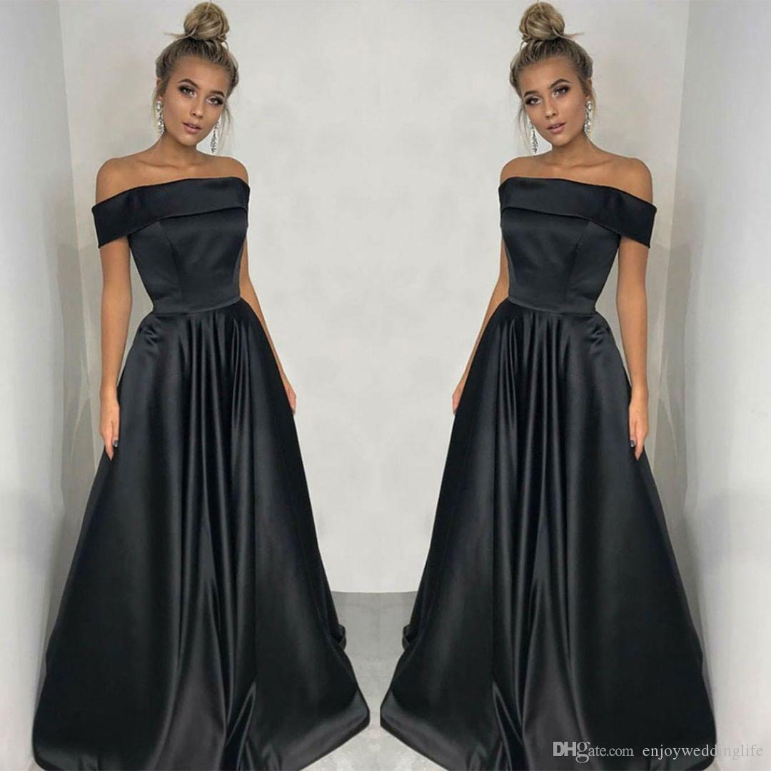 2ad32bb4fe97 Simple Elegant Black Off Shoulders Long Prom Dresses A Line Satin Cheap  Formal Party Evening Gowns Backless Prom Dresses Uk Beautiful Prom Dress  From ...