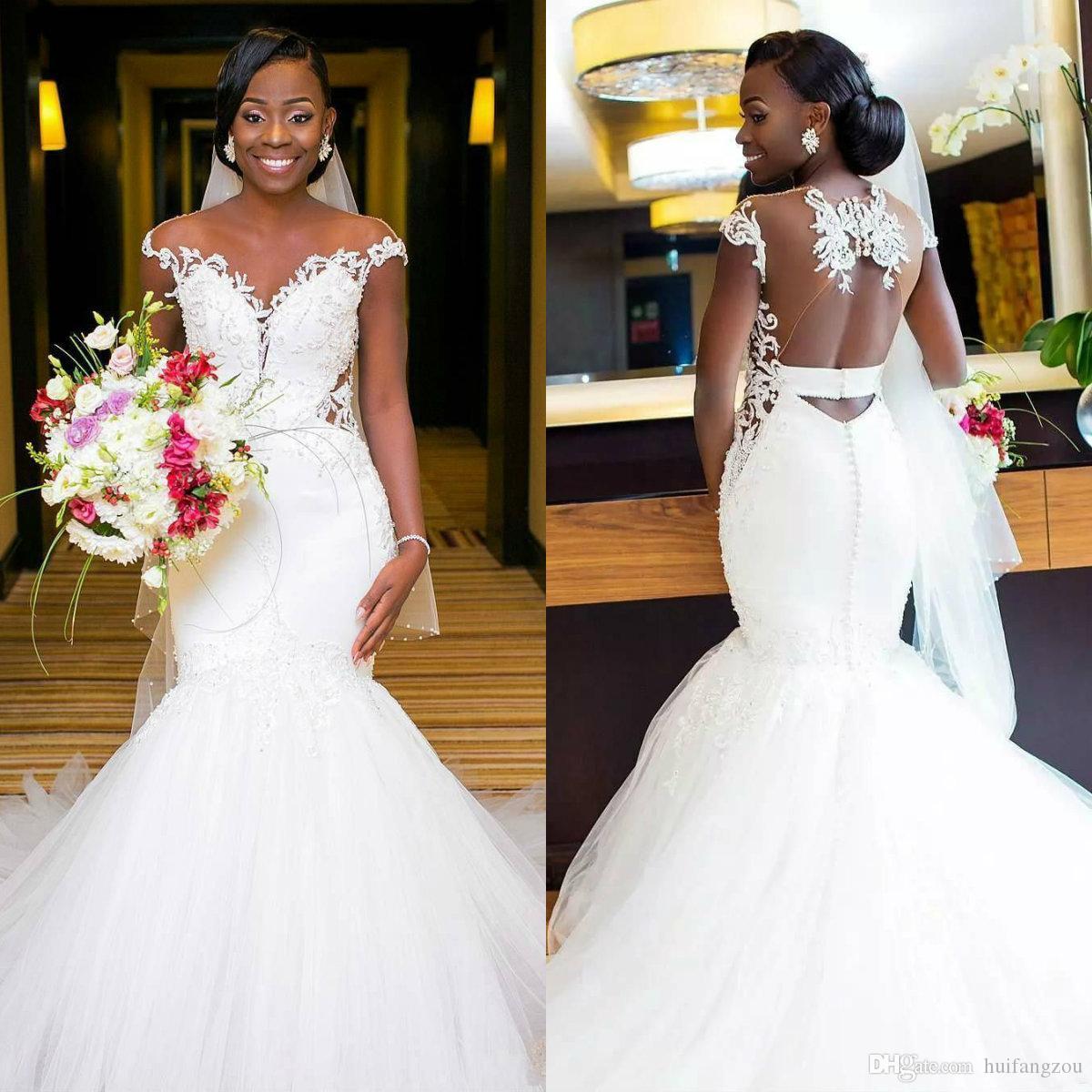 307b13a7277 Latest African Mermaid Wedding Dresses Cap Sleeve Lace Applique Beaded  Tulle Beach Wedding Dress Plus Size Robe De Mariée Cheap Bridal Gowns  Discount ...