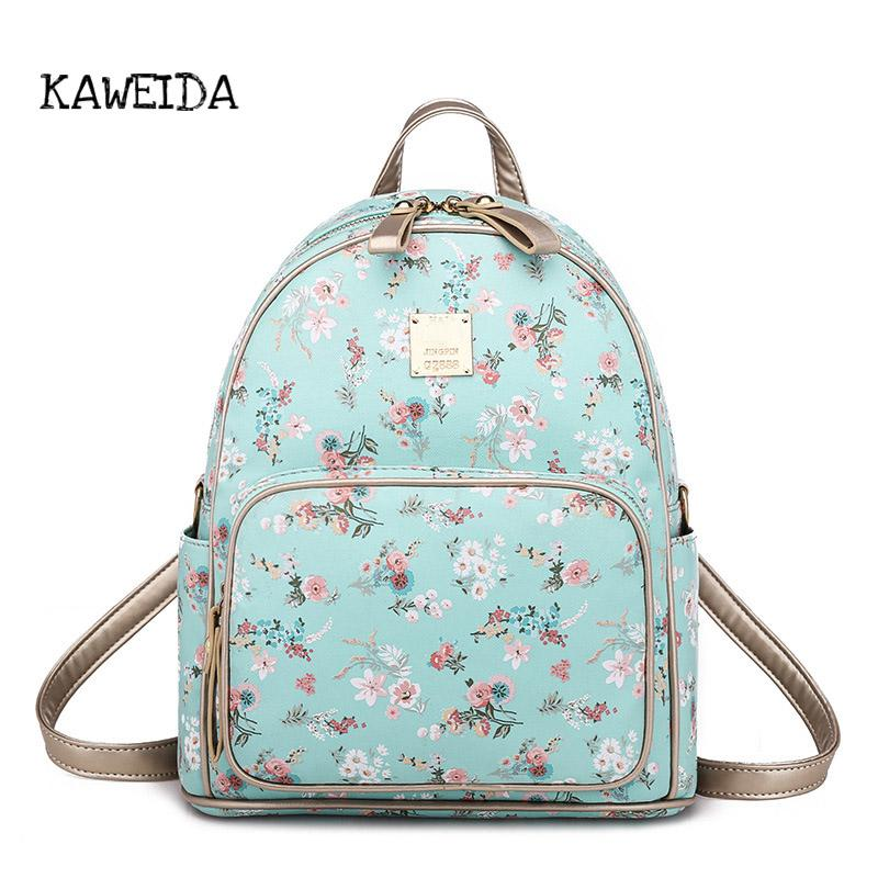49c0dfd76e6c Fashion Floral Backpack Women Girl PU Leather Shoulder Bagpack Mini Sky Blue  Pink Black Print School Bag Lady Casual Pack Purse Batman Backpack Running  ...