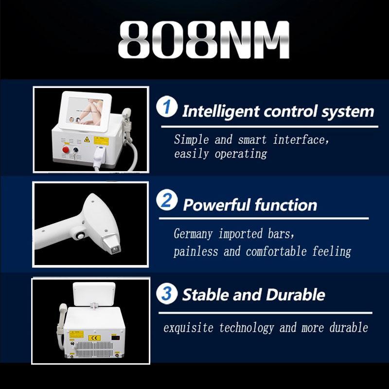Nova tecnologia de tratamento a laser 808nm e depilação permanente 808nm sistema de laser de diodo depilate máquina de tratamento