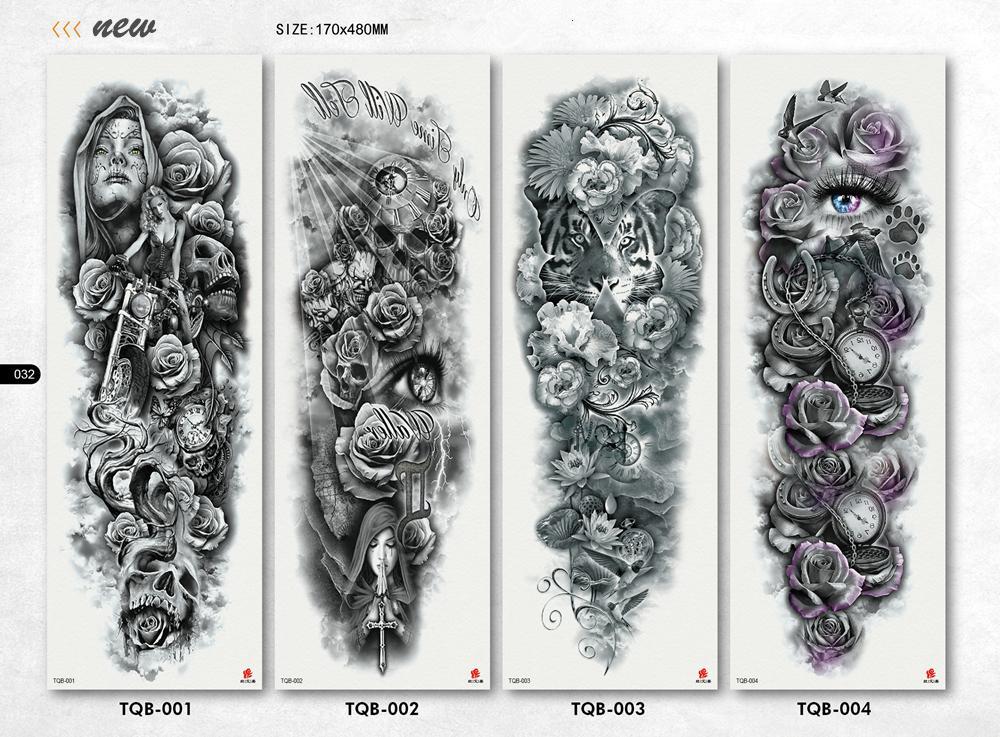 Mechanische Eisenarm Rose Große Armmanschette Tattoo Wasserdicht temporäre Tätowierung Aufkleber Männer Volle Blume Tatoo Body Art Tattoo Mädchen