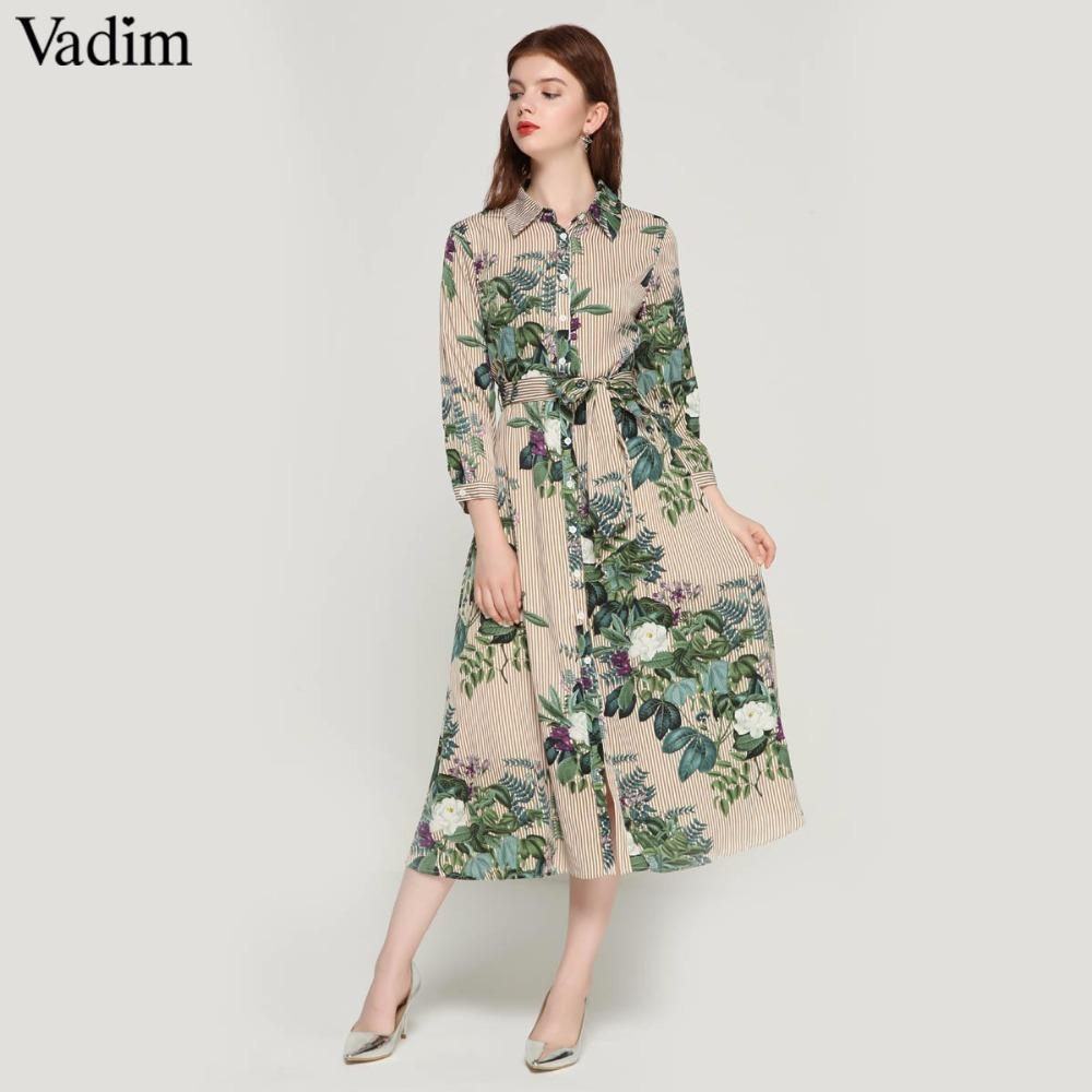 8487765f344 Acheter Vadim Femmes Vintage Floral Rayé Midi Robe Noeud Papillon Ceinture  Ceinturon À Manches Longues Plissée Femme Chic Robes Habillées Robes QA178  ...