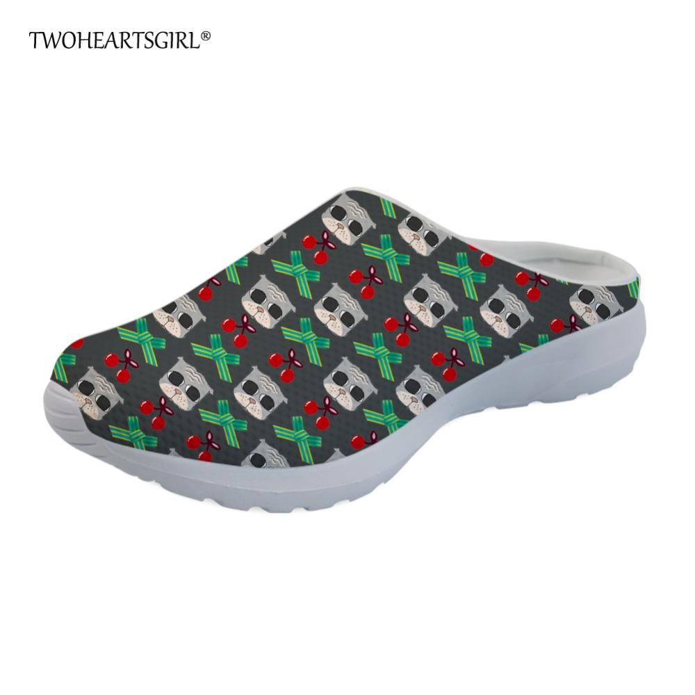 e20ea78ac4249 Twoheartsgirl Breathable Cherry Cat Print Home Slippers Slip On Female  Ladies Mesh Shoes Comfortable Flat Summer Sandals Mens Boots Winter Boots  From ...