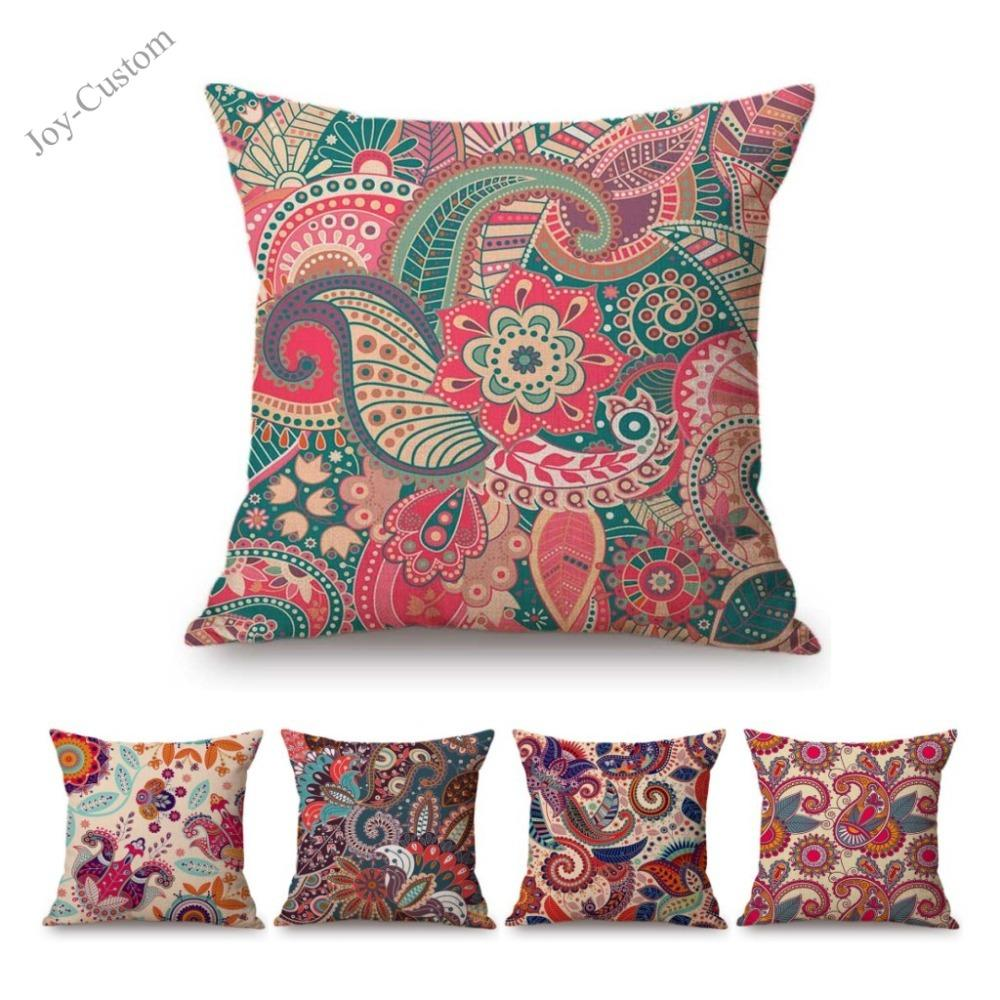 Pink Bright Paisley Floral Pattern Home Decorative Sofa Throw Pillow Case Bohemian Mandala Cotton Linen Car Pillow Cushion Cover