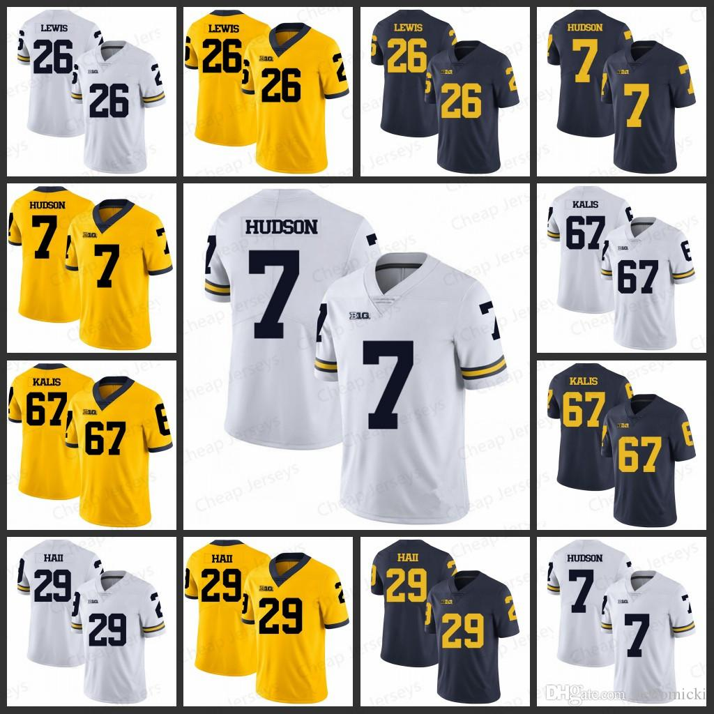 best authentic 4010d 47310 Mens Michigan Wolverines Jerseys 26 Jourdan Lewis 7 Khaleke Hudson 67 Kyle  Kalis 29 Leon Hall All stitched College Football Jersey