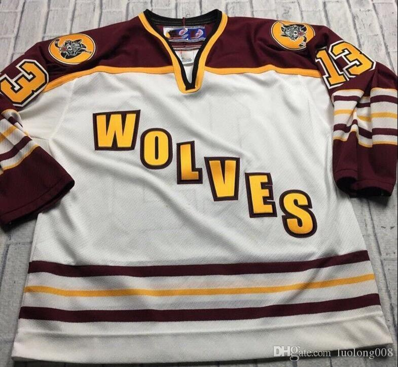 Vintage CHICAGO WOLVES Wanvig Hockey Jersey Embroidery Stitched Customize any number and name Jerseys