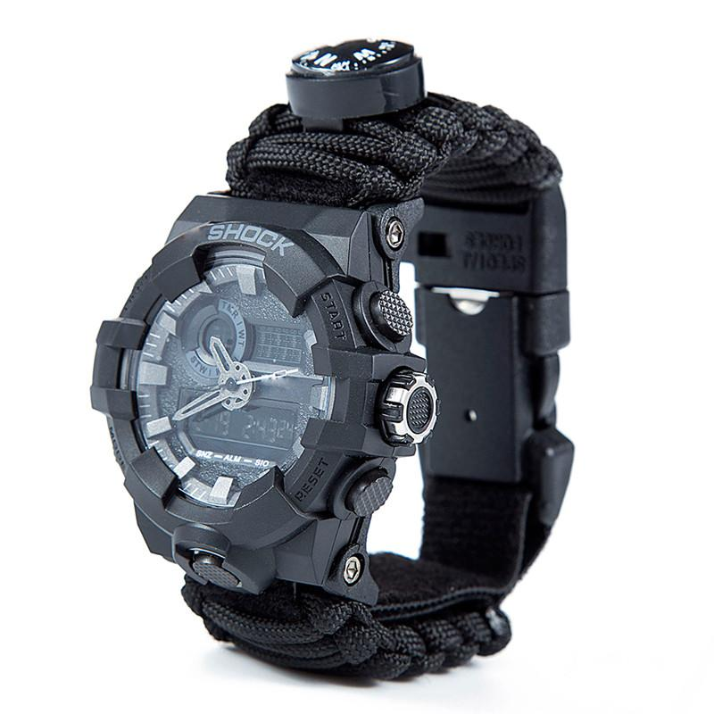 Outdoor Survival Paracord Watch Camping Multi-functional Survival Watch Compass Thermometer Rescue Rope Tactical Paracord Tools (1)