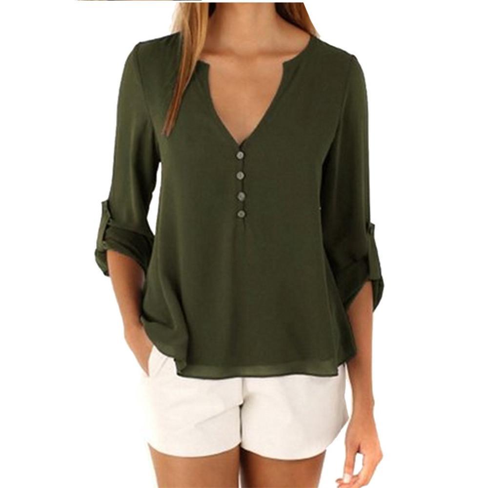 Compre Nueva Camisa De Las Mujeres 2019 Primavera Otoño Moda Vintage  Elegante Oficina Camisa Suelta Con Cuello En V Gasa Blusa Blusas Feminina  Causal Tops A ... f85fa4d10de