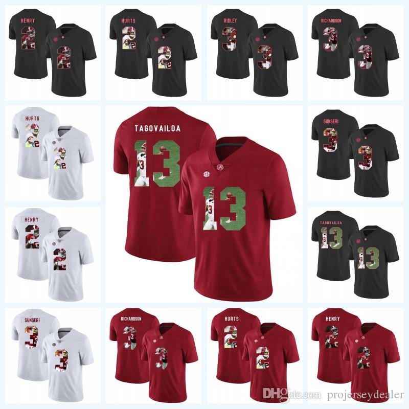 df8df0367 2019 13 Tua Tagovailoa Alabama Crimson Tide 2 Derrick Henry 2 Jalen Hurts 3  Ridley 3 Vinnie Sunseri NCAA Football Printed Lettering Jersey From ...