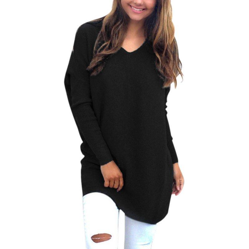 328d9462cda Plus Size Casual Loose Women Sweaters V NecK Autumn Spring Long Sleeved Clothes  Tops Tees Clothing For Female Chunky Knitted Oversized Baggy UK 2019 From  ...