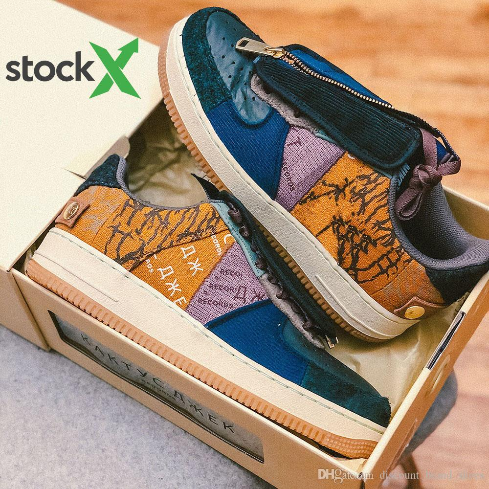 Travis Scott x Nike Air Force 1 Low Stock X With Box Travis Scott shoes Air Low 1 Cactus Jack Multi-Color 1s men women Running Shoes Canvas mens sports sneakers