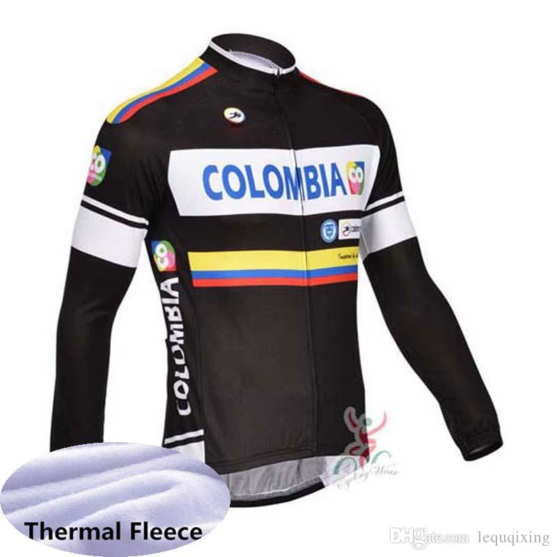 Colombia team Cycling Winter Thermal Fleece jersey Comfortable Breathable bib pants sets mtb Clothes Outdoor Sports X71640