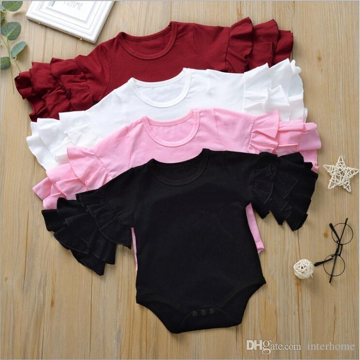 Newborn Kids Baby Girls Top Romper Jumpsuit Bodysuit Outfits Solid Clothes AU
