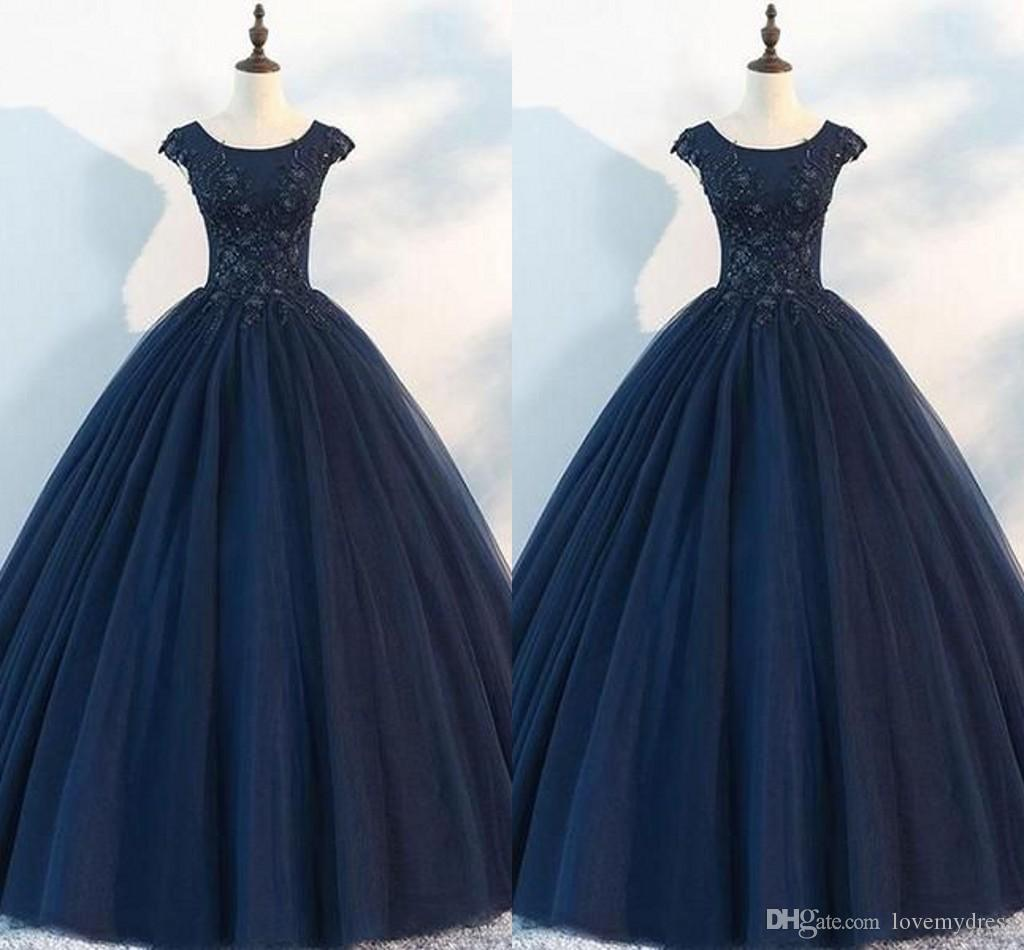 9c6160cc7f2 Navy Blue Lace Applique Quinceanera Dresses Cap Sleeve Scoop Beaded Sequin Tulle  Ball Gown Sweet 16 Dress Girls Prom Dress Party Gowns Formal Dresses Cheap  ...
