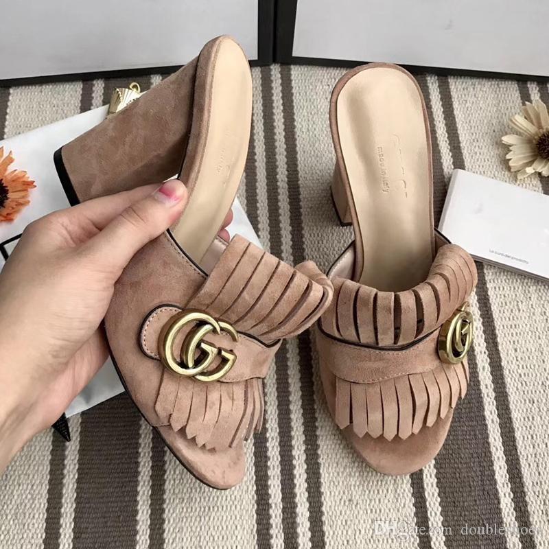 d367cd423 Luxury Slippers Womens Fashion Designer Leather Bottom Sandals 7.5cm ...