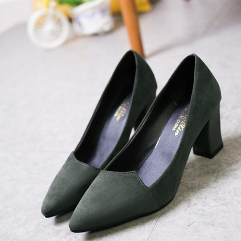 f518f1070ea8 2019 2018 Women Pumps Toe Mid Heels Dress Work Comfortable Ladies Shoes  Rough With Ankle Strap Thick Heel Women Shoes Square  1008 Penny Loafers  Wedges ...