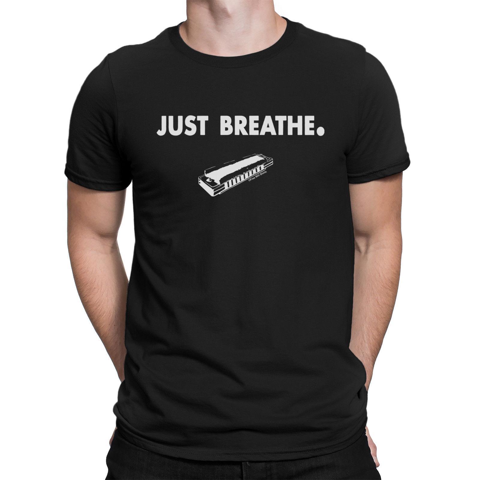 07f784a4df Acquista Mens JUST BREATHE Harmonica Mouth Organ Jazz Folk Divertente  Novità Musicale T Shirt A $12.19 Dal Goodservice74   DHgate.Com