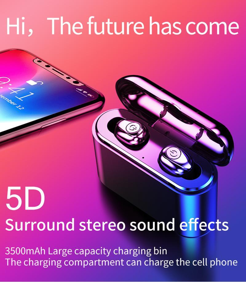 X8S TWS Wahre Drahtlose Ohrhörer 5D Stereo Bluetooth Kopfhörer Mini TWS Wasserdichte Headfrees mit Ladekasten 2200 mAh Energienbank Geben schiff Frei