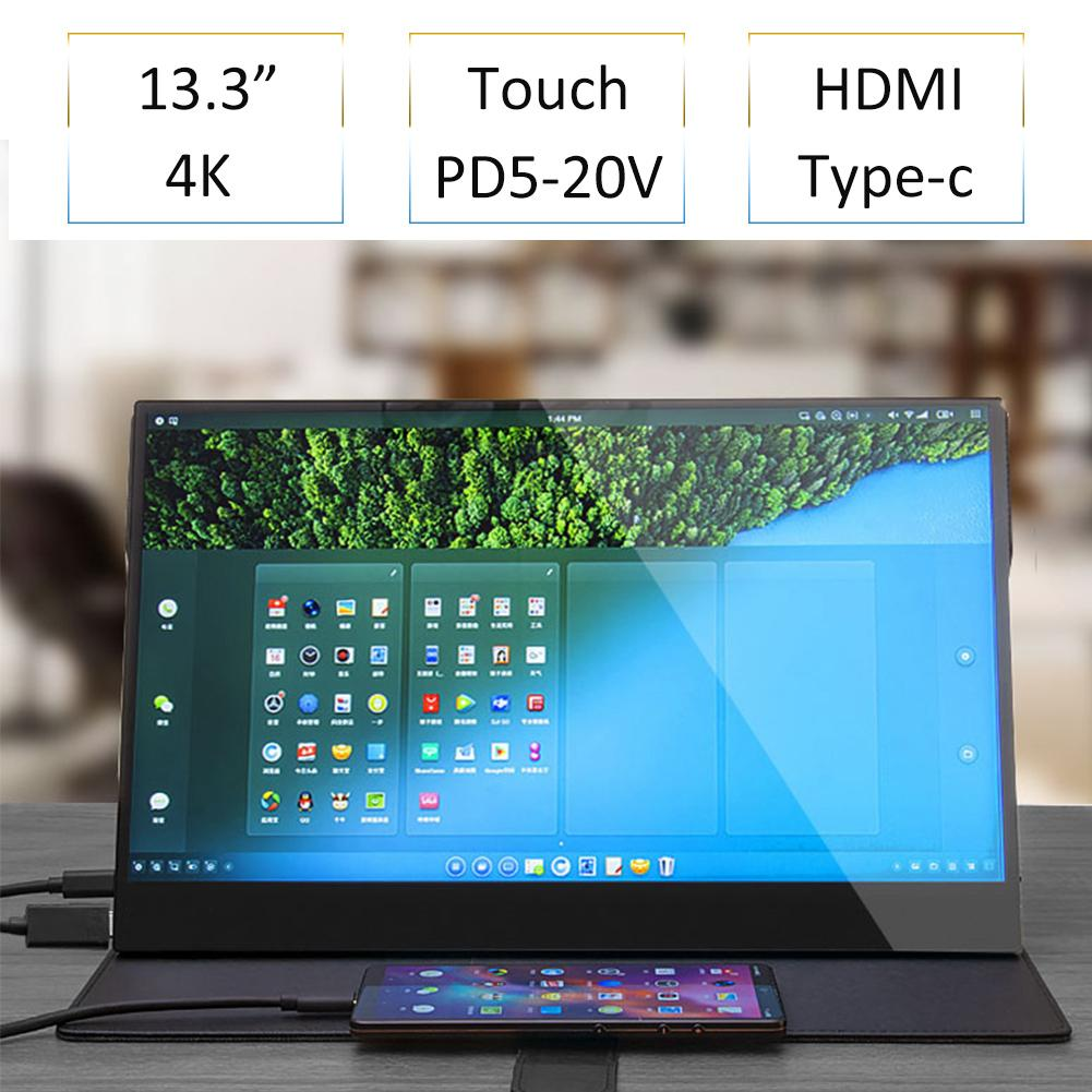 13.3 Inch 4K HDR10 HDMI Type-c Touch Monitor For Smart Phone Switch PS4 NS Laptop IPS OGS Touch Screen With Speaker VESA