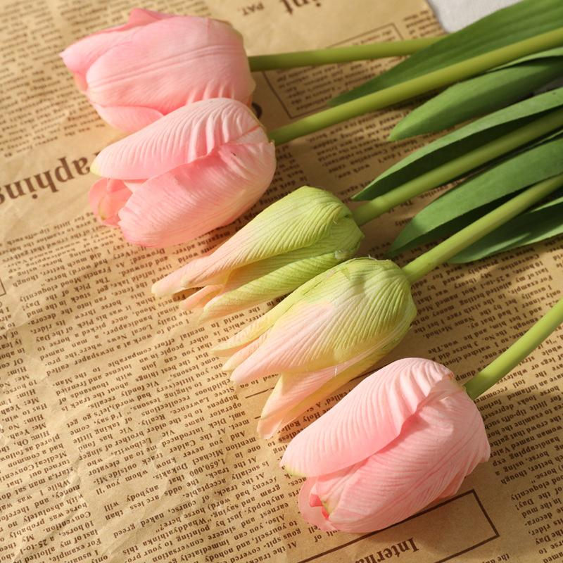 3Pcs Moisturizing 5Heads Plastic Tulip Bouquet Silk Flower Decoration Home Faux Flowers Wreath Wedding Decor Fake Flower Photography Props