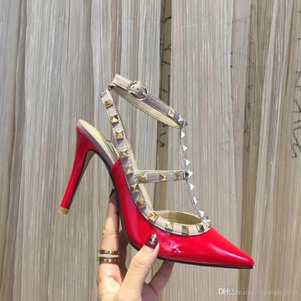 3ac437d5a85 Red High Heel Dress Shoes Women Pointed Toe Ankle Strap High Heel Shoes  Wedding Party Classic Luxury Rivet Gladiator Shoes