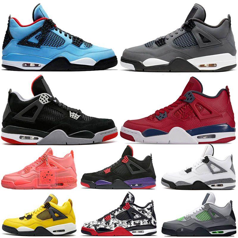 new products b30ec f39c2 2019 Jumpman New Bred Cool Grey 4s Travis Scott x 4 Cactus Jack IV NEON  Purple Raptors FIBA Mens Shoes Womens Sneakers 5-13