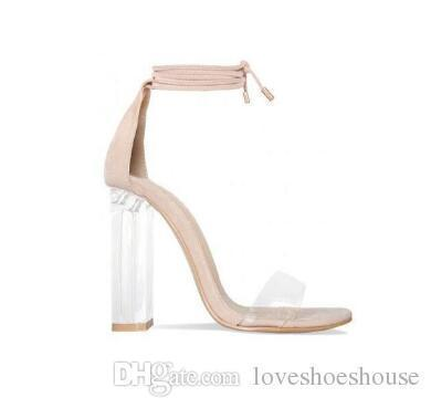 e26c3be6c7b Charm2019 Pink Nude Faux Suede High Heels Women Sandals Transparent ...