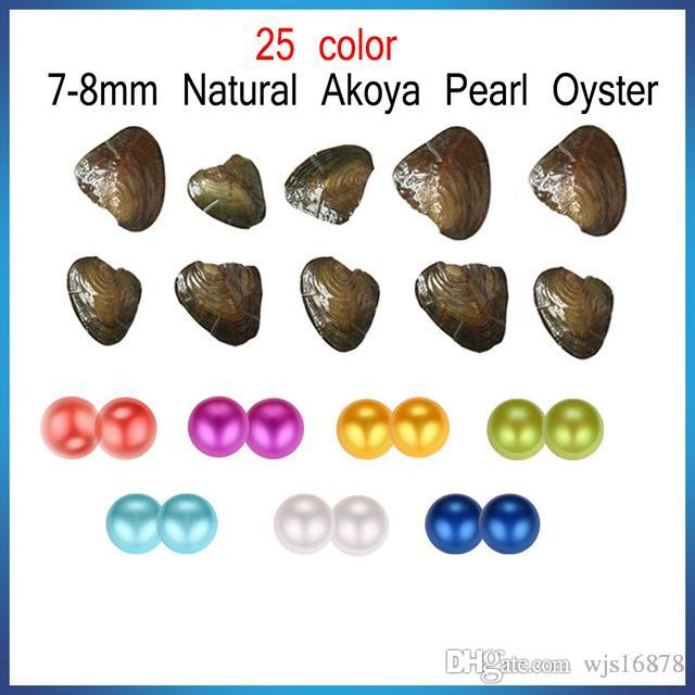Wholesale 2019 New 7-8mm Natural freshwater Akoya Twins Pearl Oyster With Round Loose Pearls For DIY Jewelry Making Vacuum Packaging