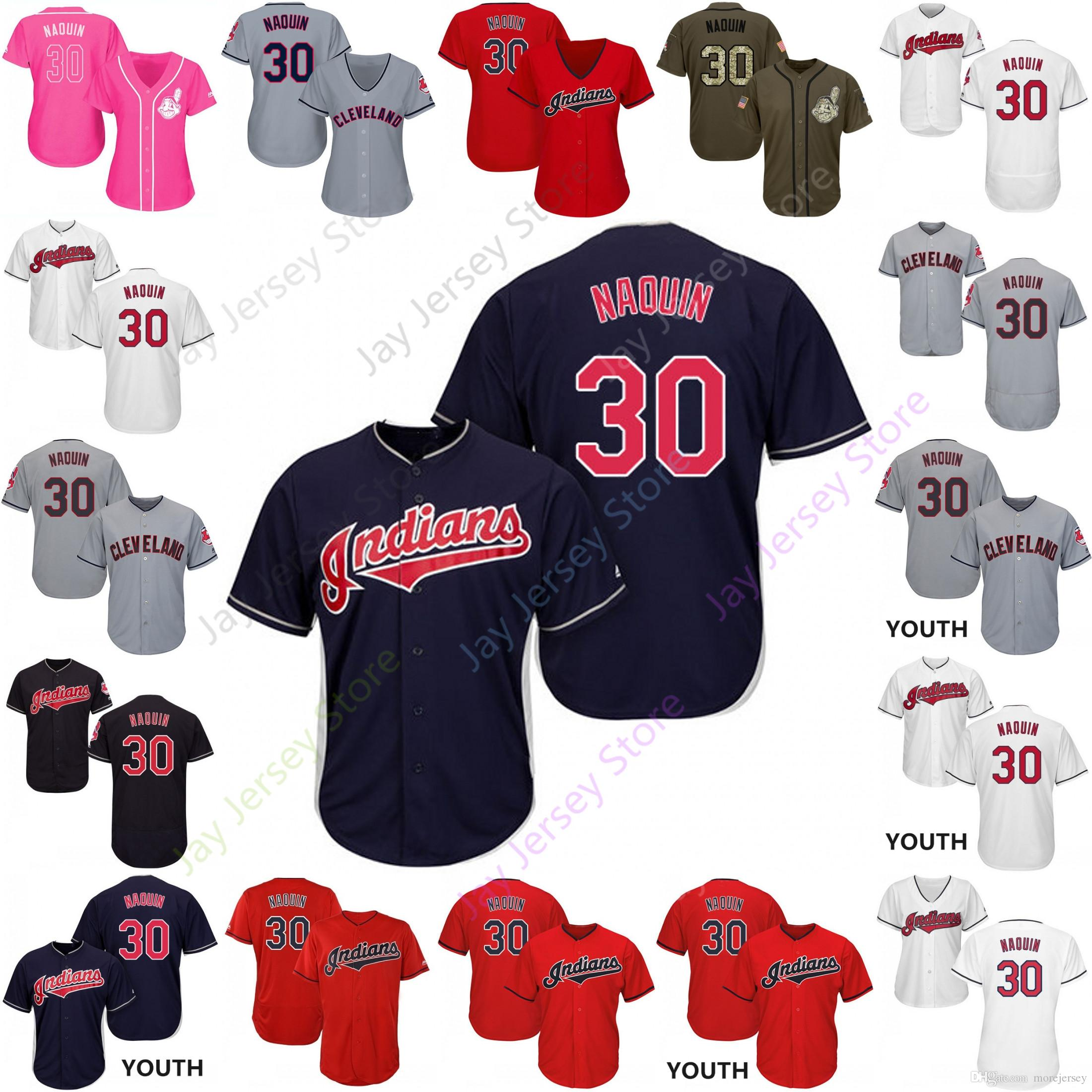 online retailer 9ee07 07fb7 2019 Cleveland 30 Tyler Naquin Jersey Indians Jerseys Cool Base Flexbase  Home Away White Black Red Grey Pullover Button Men Women Youth