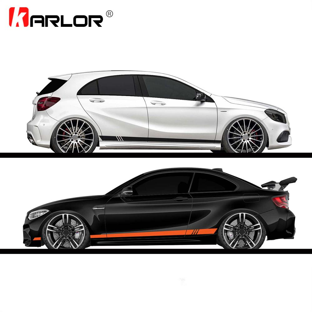 2pcs/lot 220x8cm Stripe Style Side Stripes Car Both Body Stickers Decal Car Wrap Vinyl Film Automobiles Products Car Accessories