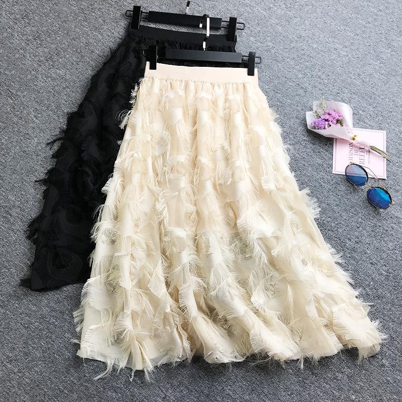 3bbd88148 Patrón de plumas Borlas Cintura alta Falda Base Temperamento Mostrar Lanky  Falda Medio cuerpo Falda Mujer 2019 Vestido de gasa