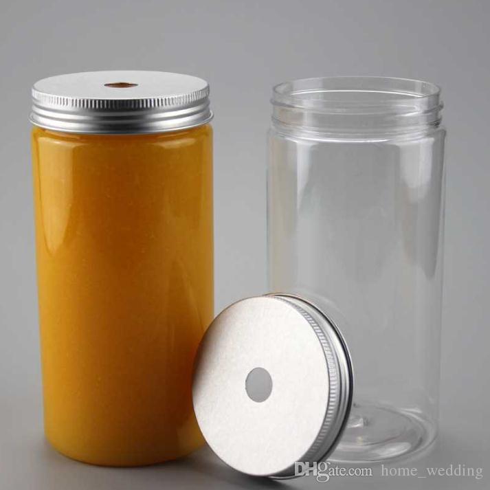 wholesale 100pcs 500ml Plastic Drink Bottle Plastic Tube PET Jar with  Aluminum Lids Beverage Tea Bottle Wide Mouth