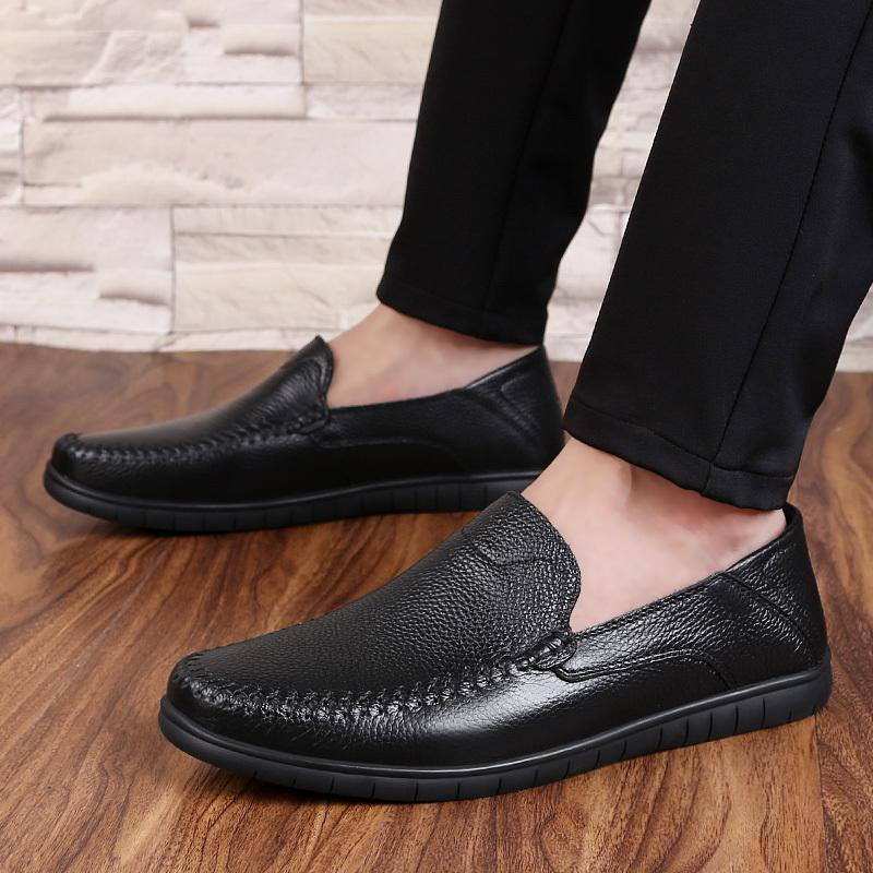 df98af17af Compre Casual Hombre Holgazanes Primavera Y Otoño Para Hombre Resbalón En  Los Mocasines De Cuero Suave Zapatos De Los Hombres De Cuero Genuino Zapatos  ...