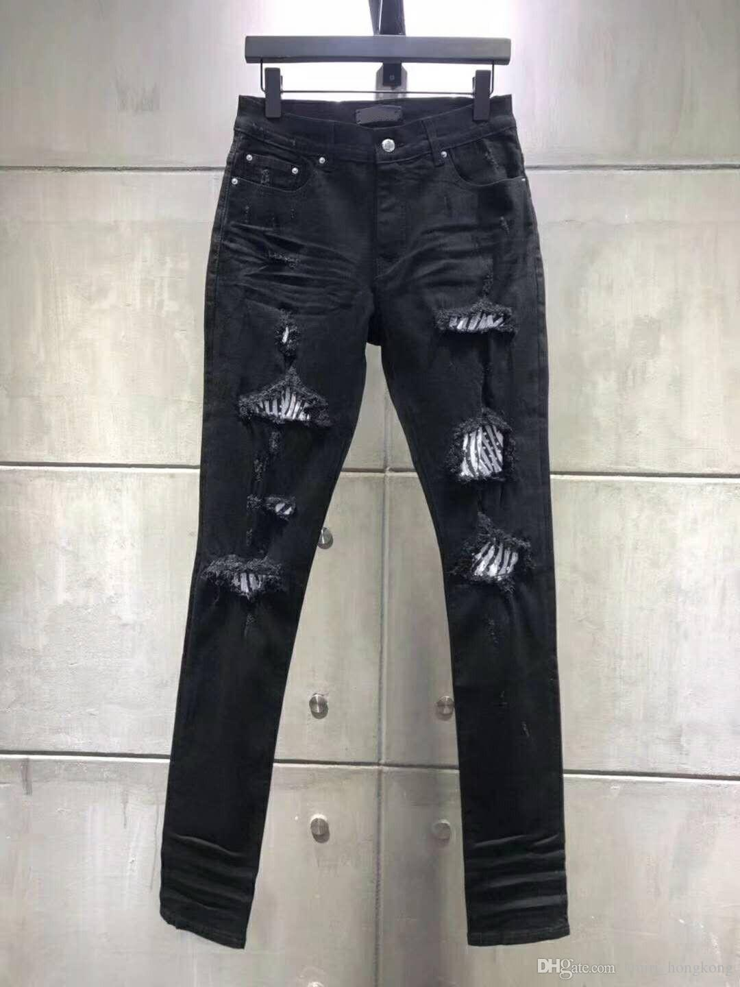 2018SS SOLID CLASSIC STYLE FASHION STRAIGHT FIT ARRIVAL BIKER BLUE JEANS PANTS DISTRESSED Water diamond zebra stripes TOP QUALITY JEANS