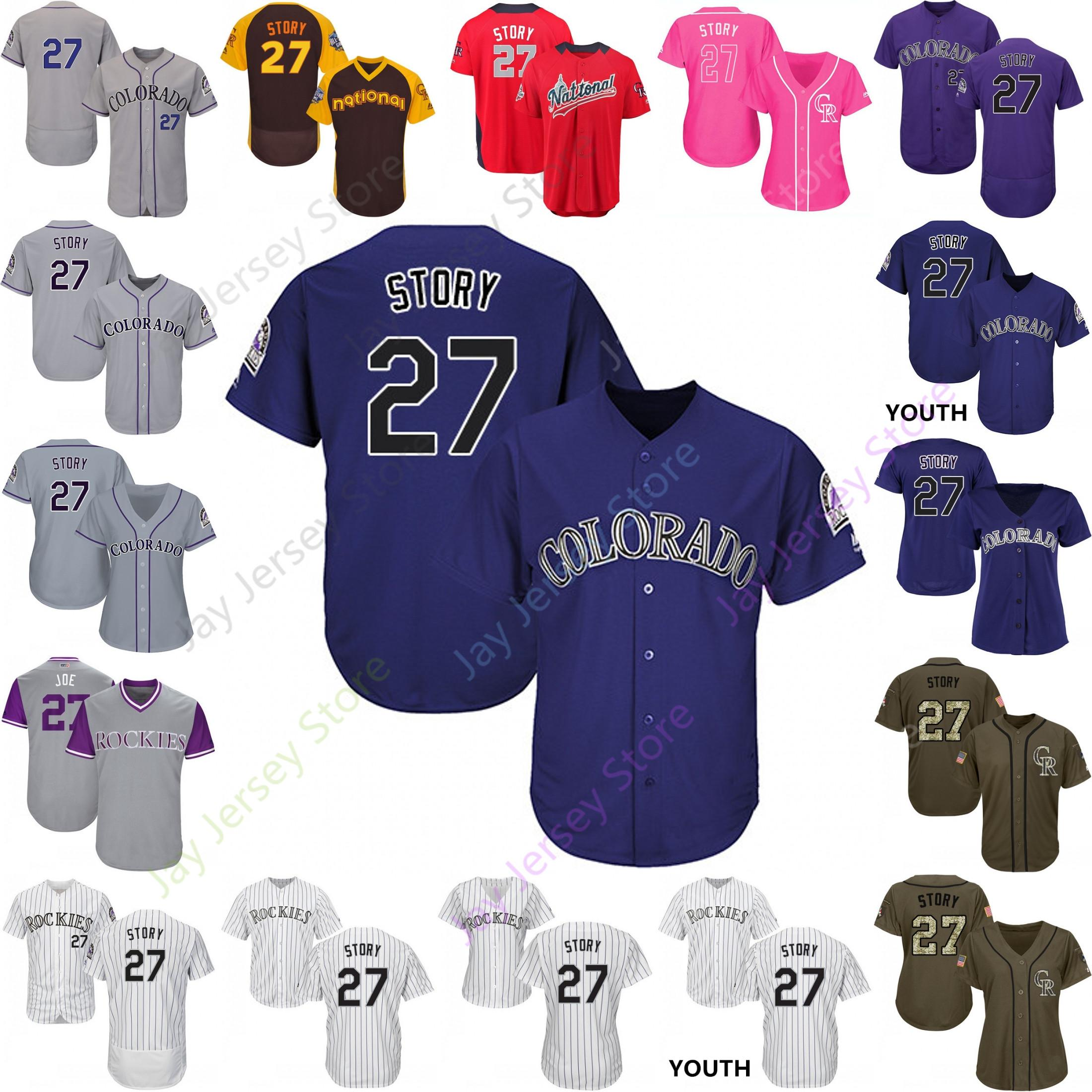 separation shoes defef 5bc46 Custom Colorado 27 Trevor Story Jersey Rockies Jerseys Cooperstown Cool  Base Flexbase White Black Red Grey Home Away Men Women Youth Cheap