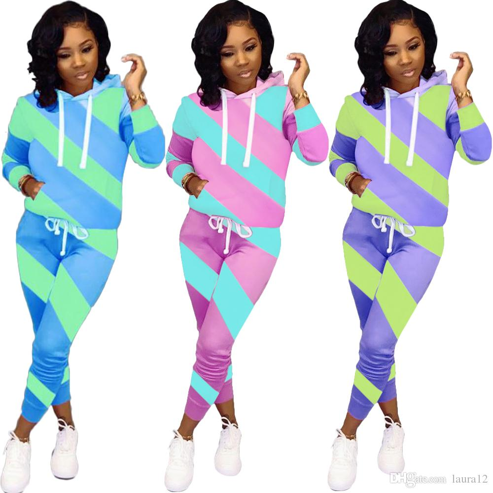 Newest Double Colors Pannelled Stripes Women Two Pieces Outfits Hooded Long Sleeves Tees Sweatshirt and Pants Outfits Autumn Winter 2019