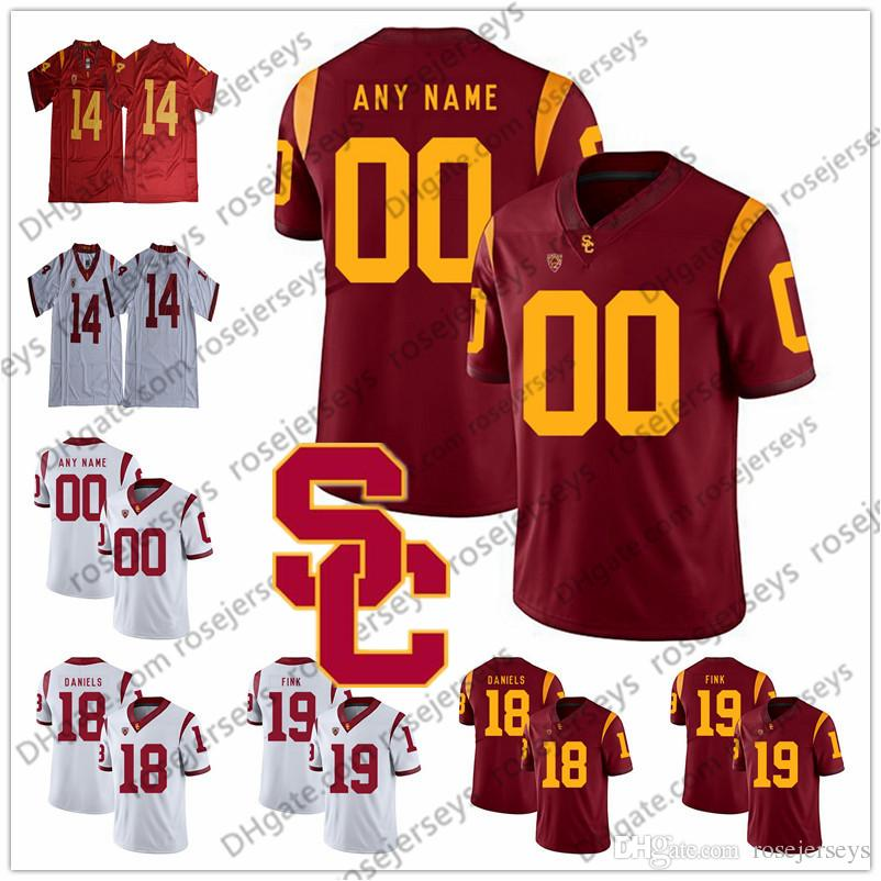 b506684955d Custom USC Trojans Football Red White Any Name Number 18 JT Daniels 10 Jack  Sears 28 Aca'Cedric Ware 19 Matt Fink Darnold Jersey