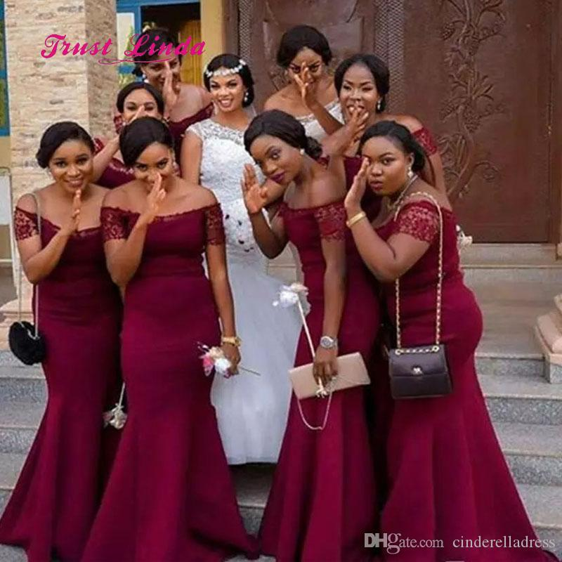 2018 African Country New Mermaid Bridesmaid Dresses Off