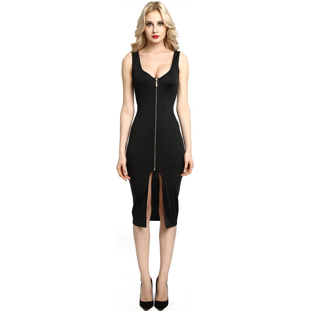 c730e1decb8 2019 New Fashion Sexy Women Bodycon Dress Scoop Neck Sleeveless Zip Front  Split Nightclub Party Pencil Tight Dress Long Dresses Women Summer Dress  Women ...