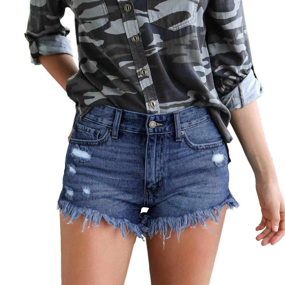 Plus Size 2XL Womens Sexy Jeans Shorts Summer Booty Shorts Mini Denim Short 2019 Moda donna Casual Jean Nero