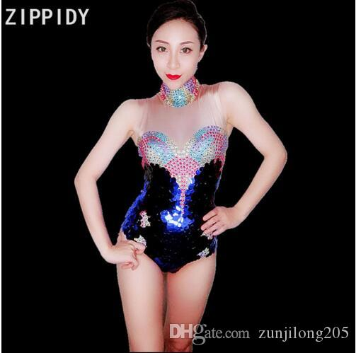 84a7ba2abb3aa Multicolor Bright Rhinestones Sequins Spandex Bodysuit Birthday Party Prom  Outfit Female Singer Nightclub DS Bodysuit Stage Wear