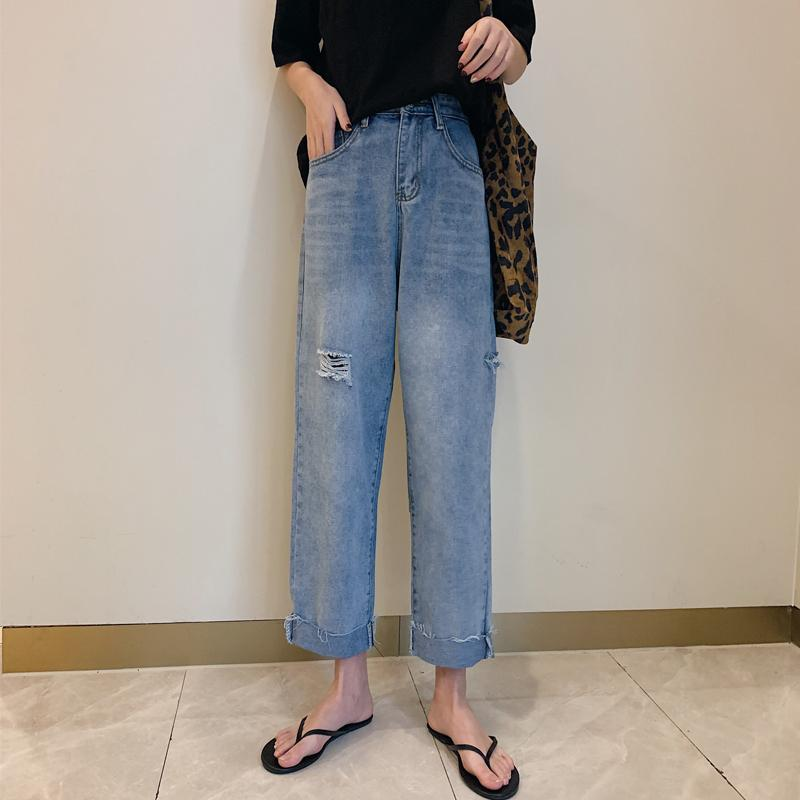 7a2cb7f2693 2019 Korean Boyfriend Style High Waist Cuffed Cropped Jeans Womens Loose  Ripped Hole Straight Denim Jeans Female Casual Pants From Hoto
