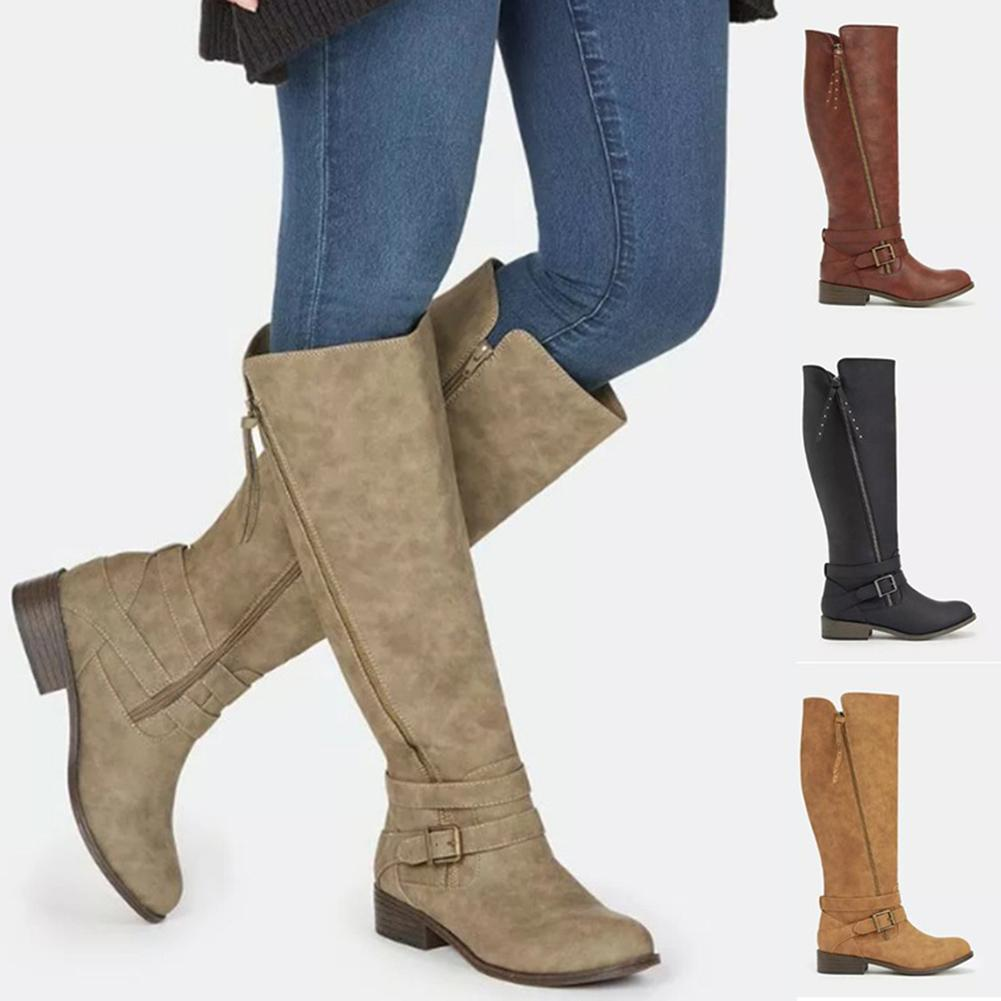 50a202b3d529 Women S Fashion Boots Knee High Boots Solid Color Round Toe Side Zipper  Belt Buckle Low Square Heels Long Plus Size Shoes Green Boots Cute Shoes  From ...