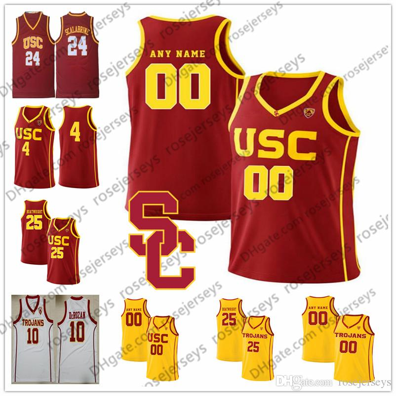 f94421486 2019 Custom USC Trojans College Basketball Red Yellow Vintage White Stitched  Any Name Number 4 Kevin Porter Jr. 25 Bennie Boatwright Jersey S 4XL From  ...