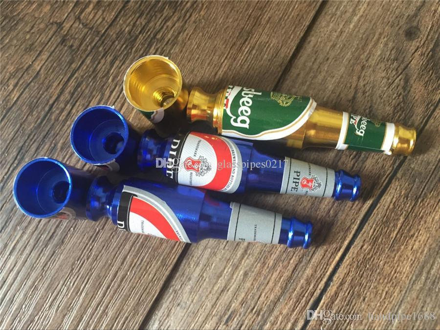 Wholesale Beer Bottle Style Metal Smoking Pipe Mini Size Smoke Filter Pipes Small Smoking Accessories Beer Wine Pattern Vaporizer