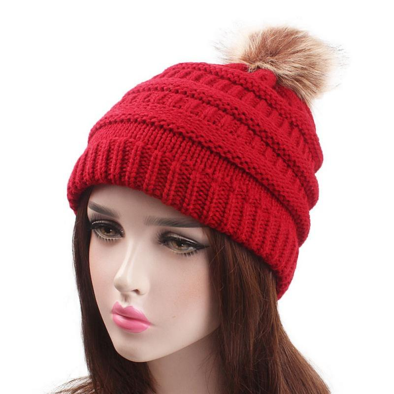 0b5603aec64 Autumn Winter Faux Fur Pompom Hat Women Fashion Knitted Female Warm Beanie  Skullies Girl Ball Pom Hats Bonnet Femme 2018 New T8 Baseball Hat Beach Hats  From ...