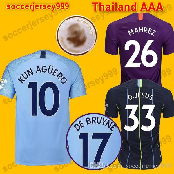 0a16173fede Thailand 18 19 De Bruyne MENDY Soccer Jerseys 2018 2019 KUN MAN ...
