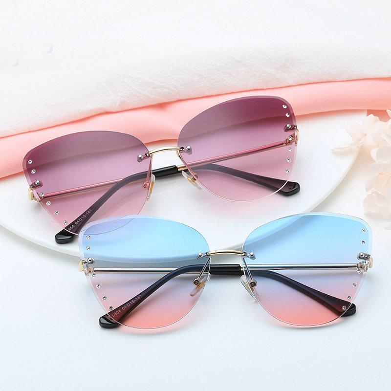 52f788fab1d2 Fashion Sexy Luxury Frameless Cat Sunglasses Women Clear Lens Diamond  Decoration Sun Glasses Female Shades UV400 With Box FML Glass Frames Online  Eyeglasses ...