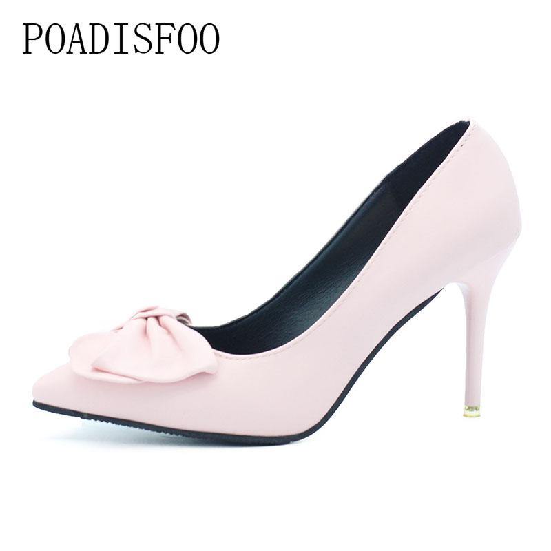 a823ff1877 ... Women Girls High Heels Pumps Bowknot Pink Sexy Pumps Thin Hih Heel 10cm  Point Toes .DFGD 2528 Wholesale Shoes Black Shoes From Deals21, $23.5|  DHgate.