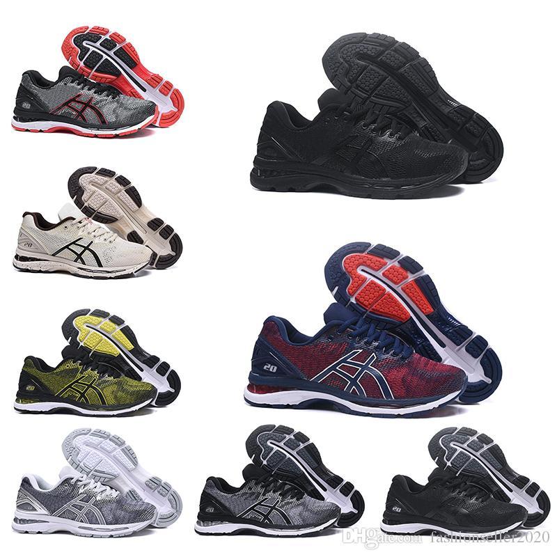 ASICS 2019 Nueva Moda GEL Nimbus 20 Estabilidad Zapatillas De Deporte Transpirables Para Hombres Negro Blanco Azul Entrenador Para Hombre Deportes De